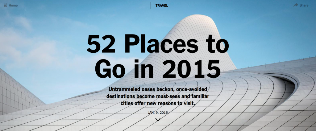 New York Times: 52 Places to Go in 2015