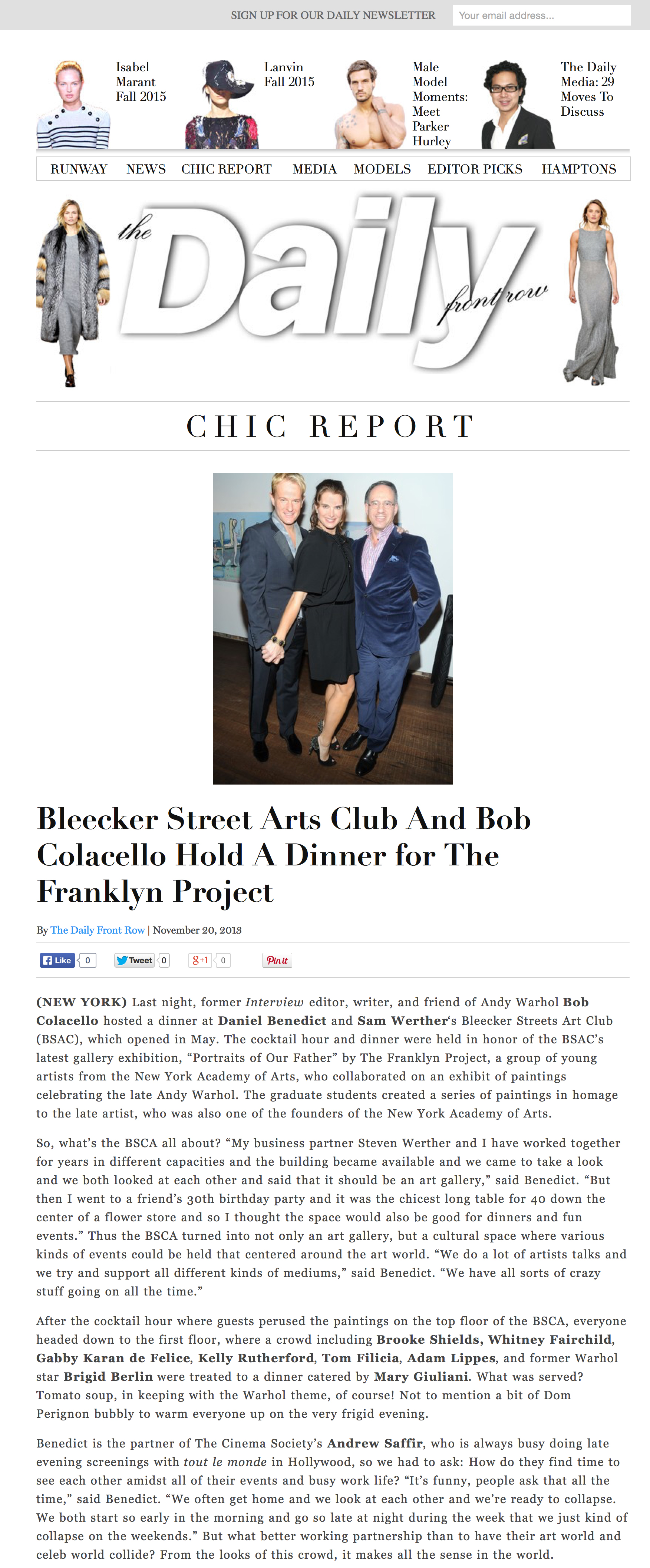 Daily Front Row: Bleecker Street Arts Club And Bob Colacello Hold A Dinner for The Franklyn Project