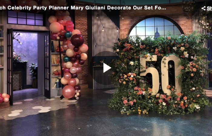 Watch Celebrity Party Planner Mary Giuliani Decorate Our Set For Rach's 50th Birthday Party