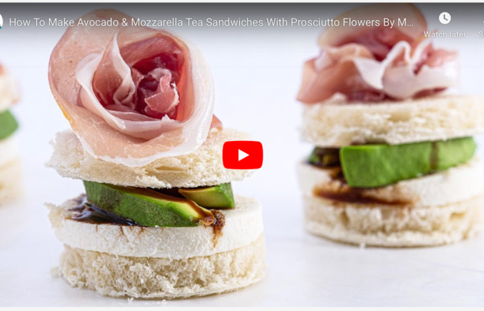 How To Make Avocado & Mozzarella Tea Sandwiches With Prosciutto Flowers By Mary Giuliani