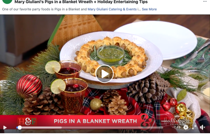 Mary Giuliani's Pigs in a Blanket Wreath + Holiday Entertaining Tips